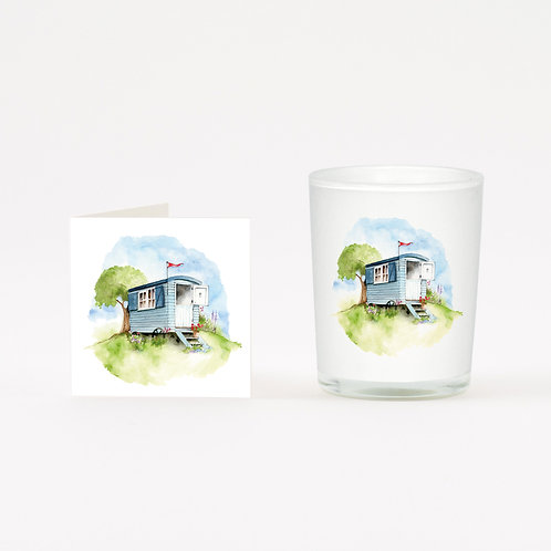 Shepherd Hut Boxed Candle & Card