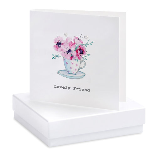 Boxed Special Friend Teacup Earring Card