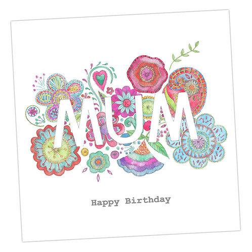 Embroidered Mum Birthday Card