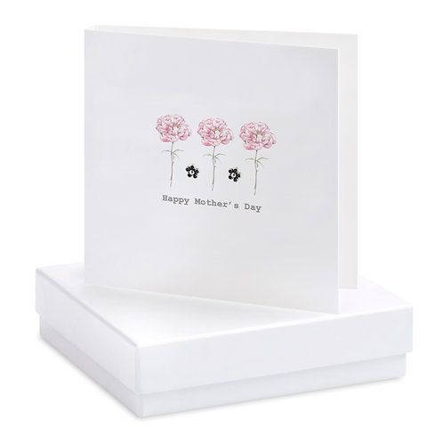 Boxed Peonies Mother's Day Earring Card