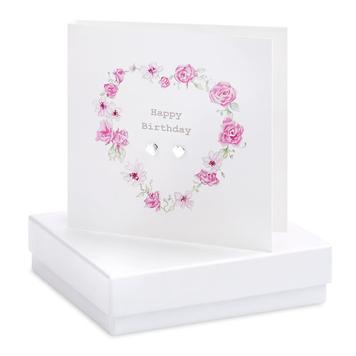 Boxed Floral Heart Happy Birthday Wreath Earring Card