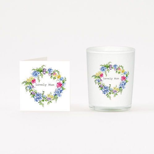Hydragea Mum Wreath Boxed Candle & Card