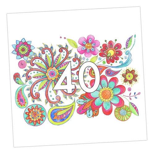 Embroidered 40th Card