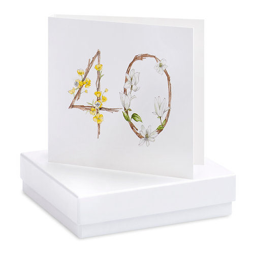 Boxed Floral 40th Earring Card