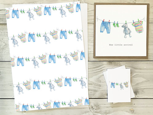 Baby Boy Gift Wrap & Tag Pack