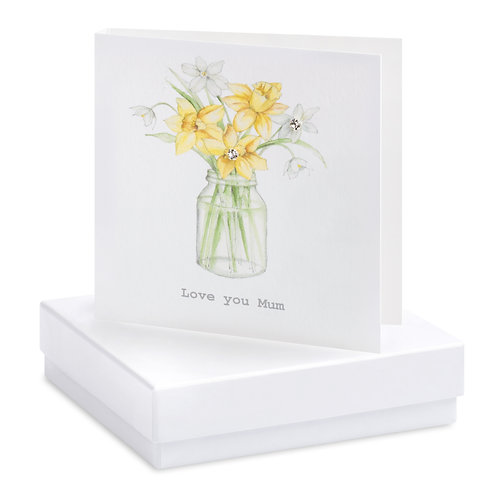 Boxed Daffodil Mum Earring Card
