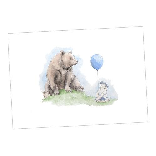 Bear & Little Boy Print