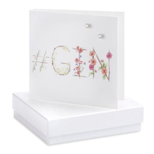 Boxed Earring Card Hashtag Gin