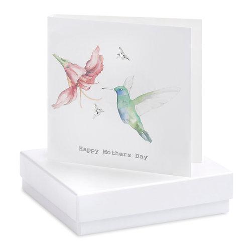 Boxed Earring Card Mum Hummingbird