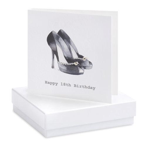 Boxed Black Heels 18th Birthday Earring Card