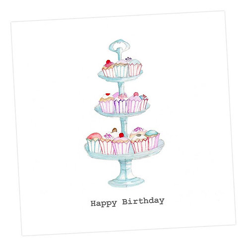 Cupcake Stand, Happy Birthday Card