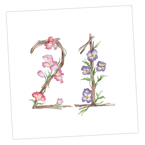 Floral Numbers 21st Card