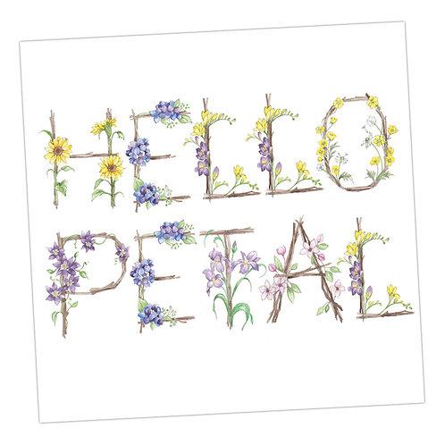 Floral Letters Hello Petal