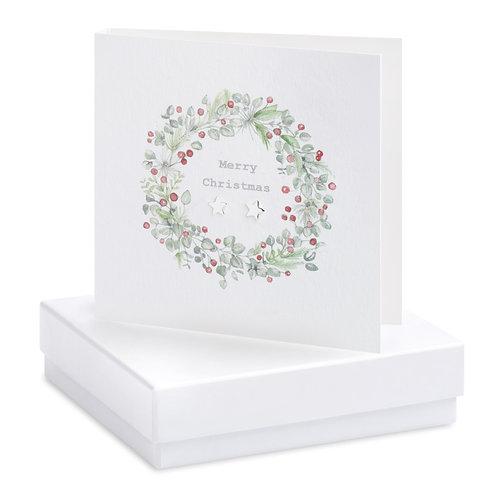 Boxed Christmas Wreath Earring Card