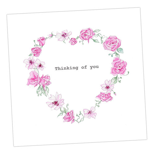 Floral Heart Thinking of You Card