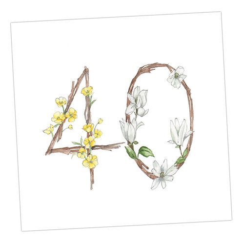 Floral Numbers 40th Card