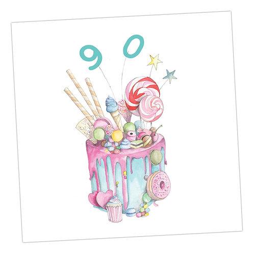 Truly Scrumptious Cake 90th Card