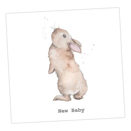 Bertie Bunny's Whiskers New Baby Card