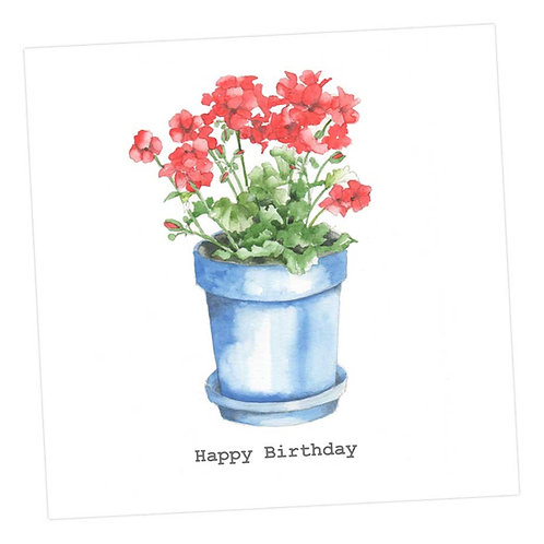 Red Geraniums Birthday Card