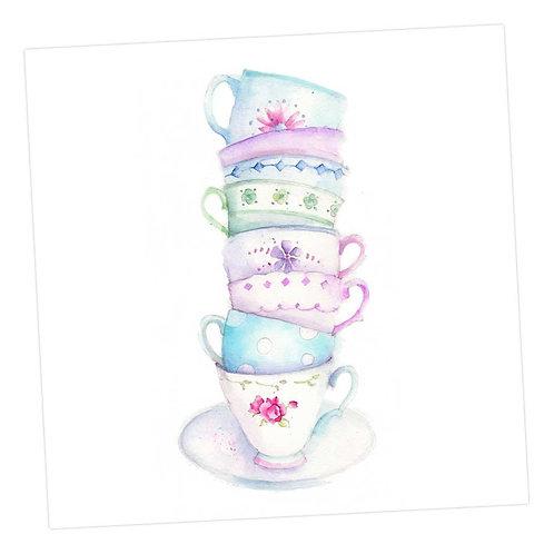 Vintage Teacups Card