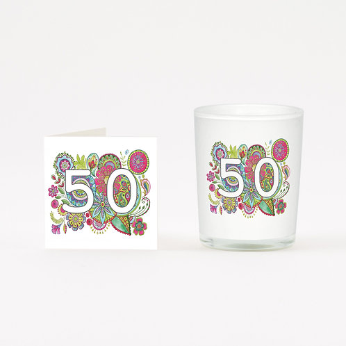 Boho 50 Boxed Candle & Card