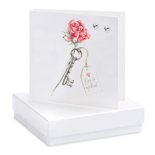 Boxed Key To My Heart Earring Card