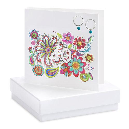 Boxed Boho 40th Earring Card