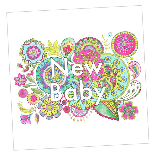 Embroidered New Baby Card