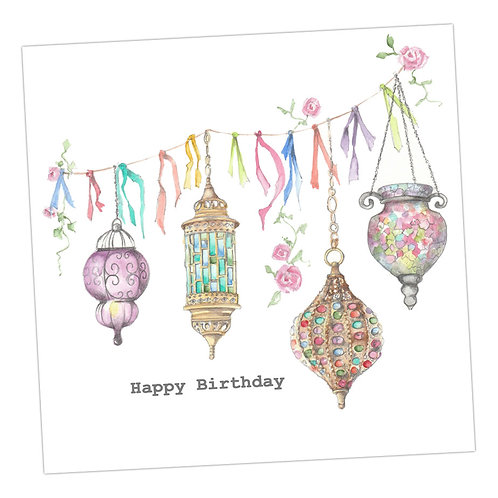 Lanterns Birthday Card