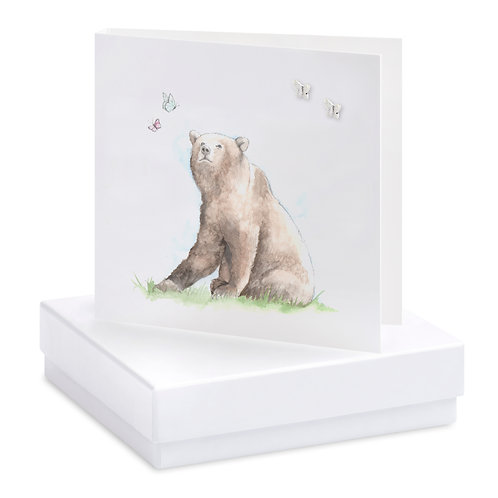 Boxed Bear & Butterflies Earring Card