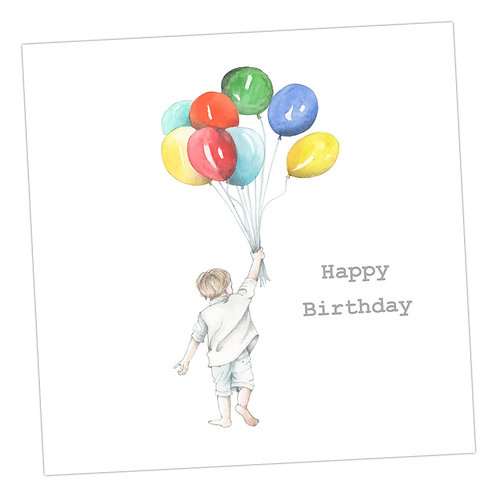 Jolly Balloon Boy Birthday Card