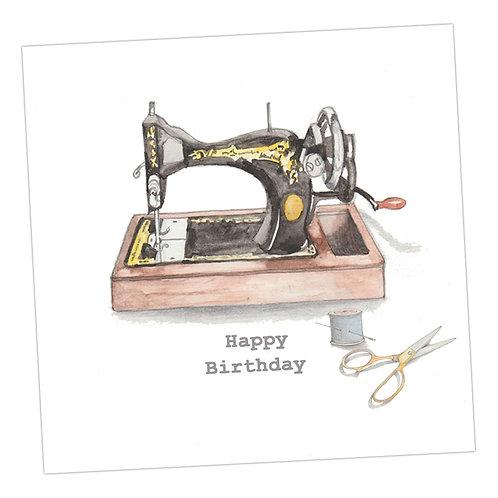 Vintage Sewing Machine Birthday Card