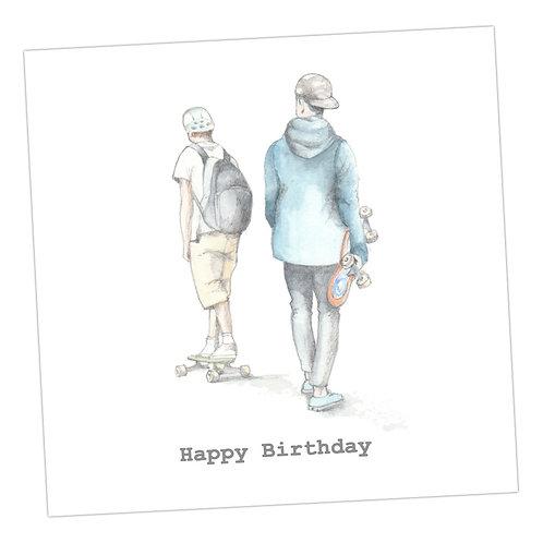 Boys with their skates Birthday  Card