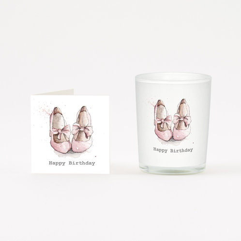 Pink Shoes Birthday Boxed Candle & Card