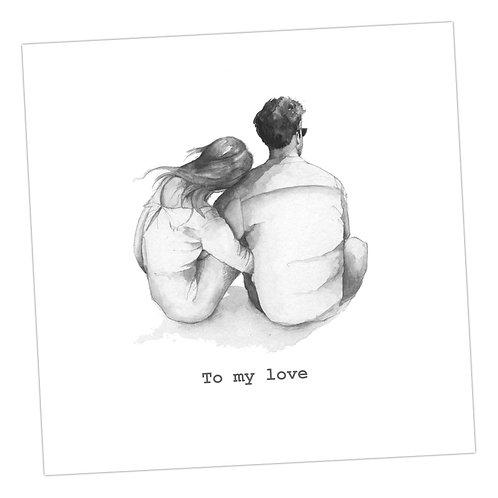 Cuddling Couple I love us Card