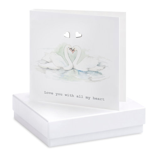 Boxed Earring Card Swans Love