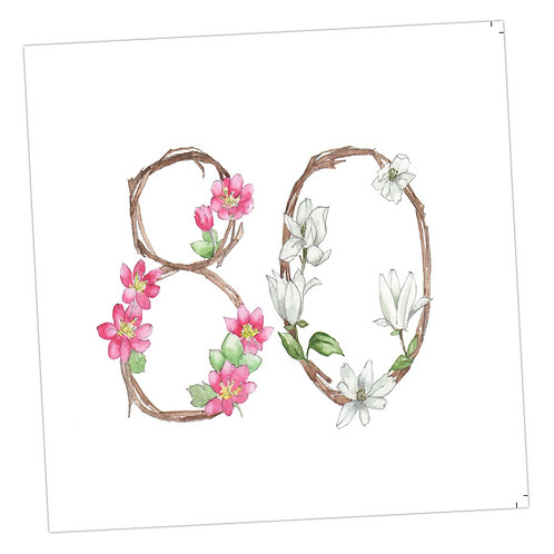 Floral Numbers 80th Card