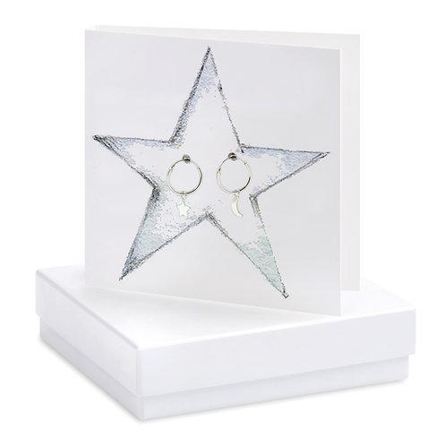 Boxed Moon & Star Hoop Earring Card