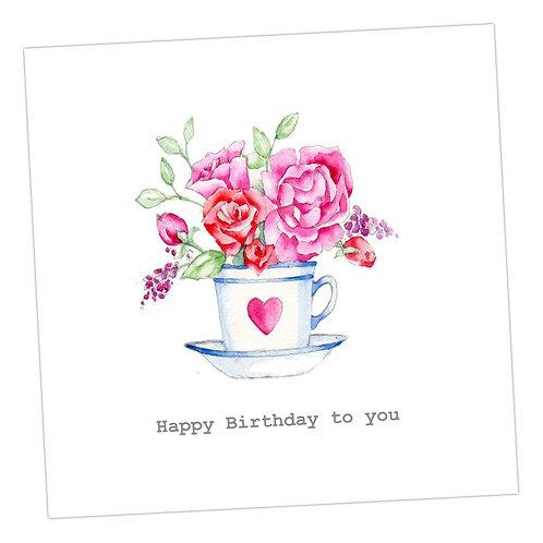 Heart Teacup Birthday Card