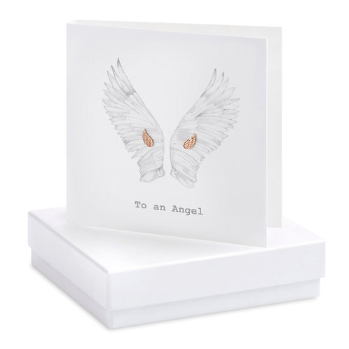 Boxed Earring Card Wings B&W To an Angel