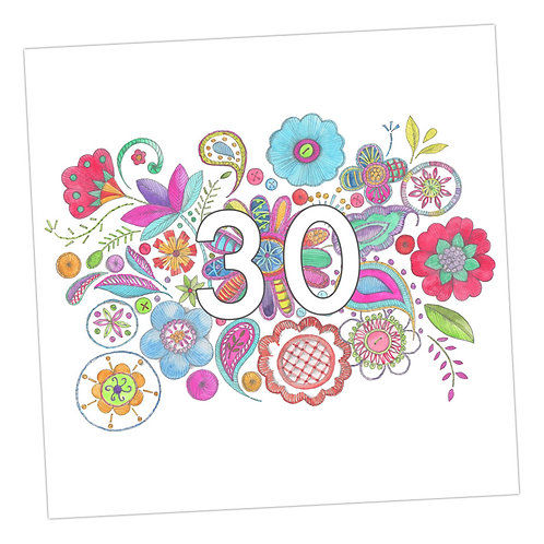 Embroidered 30th Card