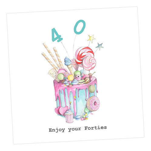Truly Scrumptious Cake 40th Card