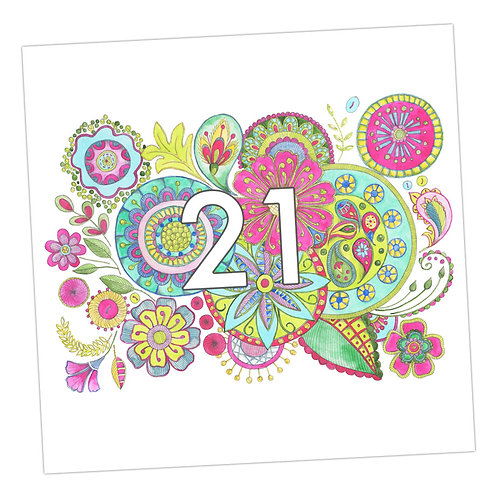 Embroidered 21st Card