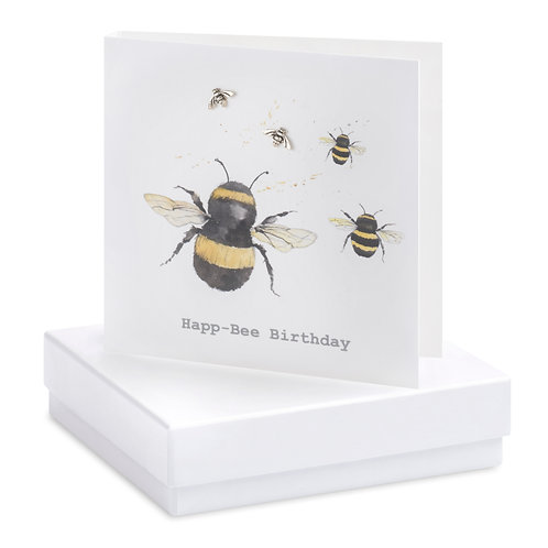 Boxed Earring Card Bee - Happ-Bee Birthday