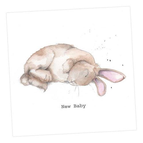 Sleeping Bertie Bunny, Baby Card