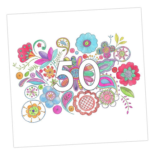 Embroidered 50th Card