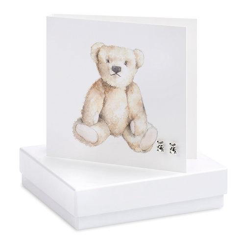 Boxed Teddy Earring Card