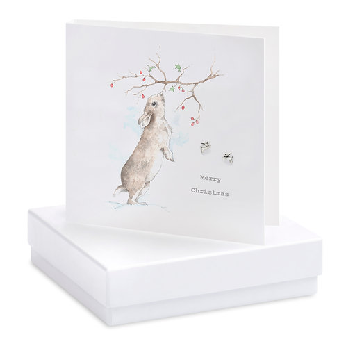 Boxed Christmas Bunny Earring Card