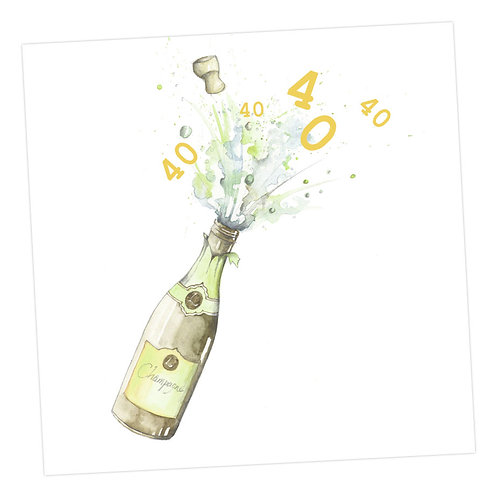 Champagne 40th Card