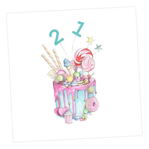 Truly Scrumptious Cake 21st Card